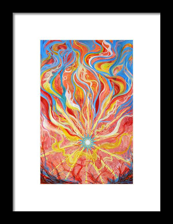 Biblical Framed Print featuring the painting Burning Bush by Anne Cameron Cutri