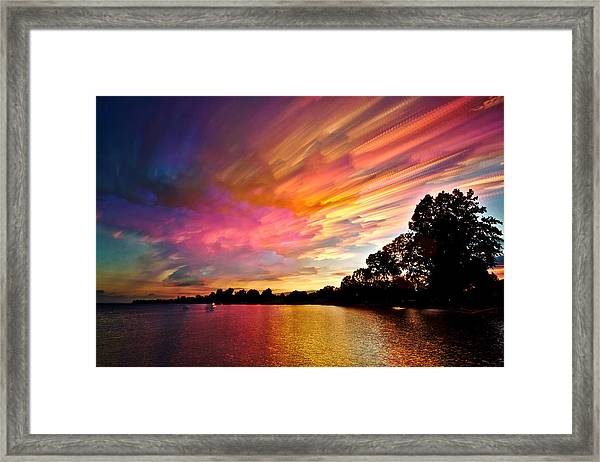 Burning Cotton Candy Flying Through The Sky Framed Print
