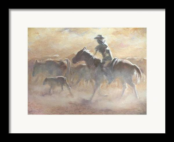 Cowboys Framed Print featuring the painting Burning Daylight by Mia DeLode