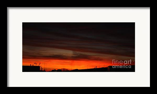 Burning Night Time Sky Framed Print featuring the photograph Burning Night Time Sky by John Telfer