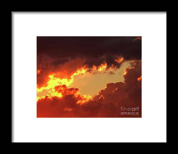 Clouds Framed Print featuring the photograph Burning Sky by Angela Wright