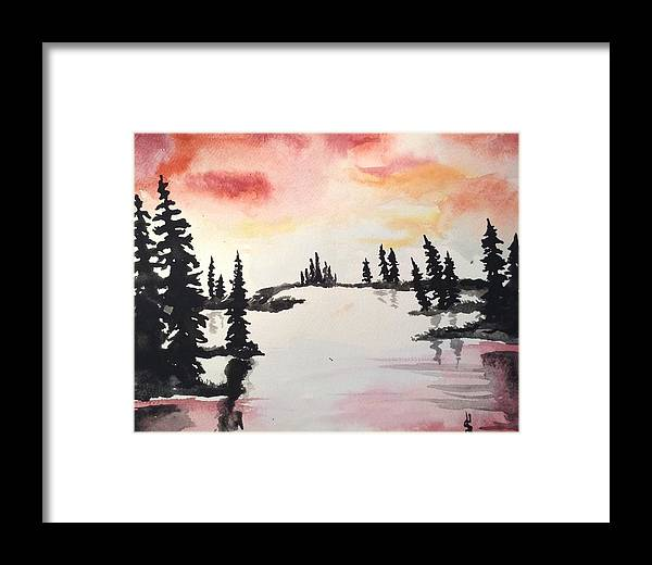 Trees Framed Print featuring the painting Burning Sky by Shelby Rawlusyk