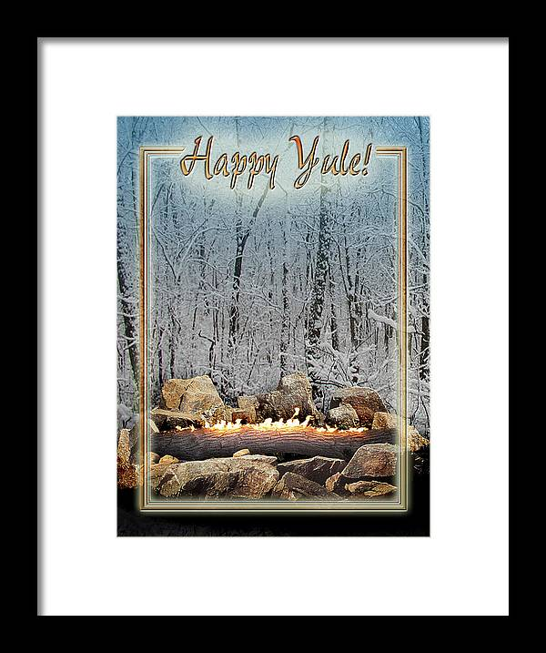 Yule Framed Print featuring the digital art Burning Yule Log by Melissa A Benson