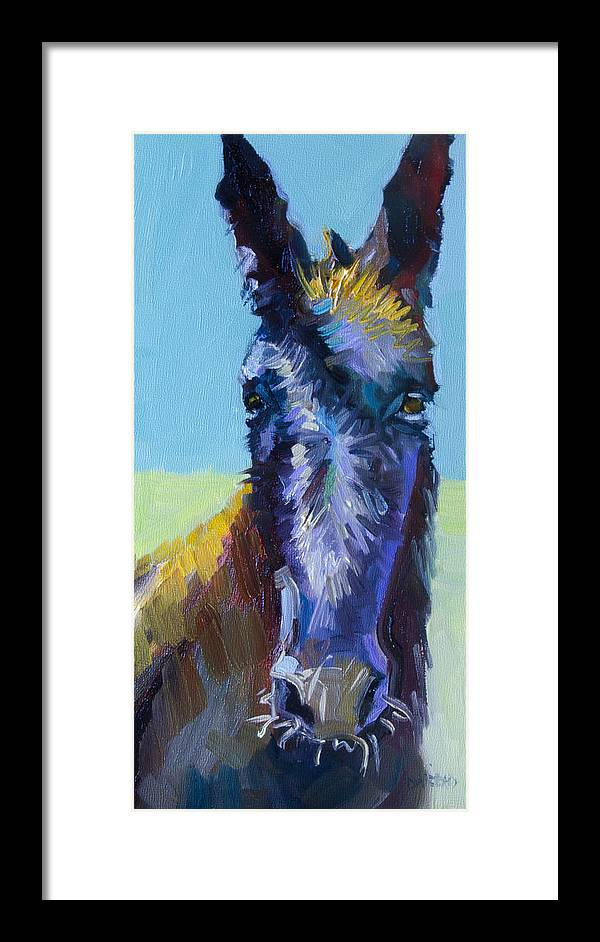 Burro Framed Print featuring the painting Burro Stare by Diane Whitehead