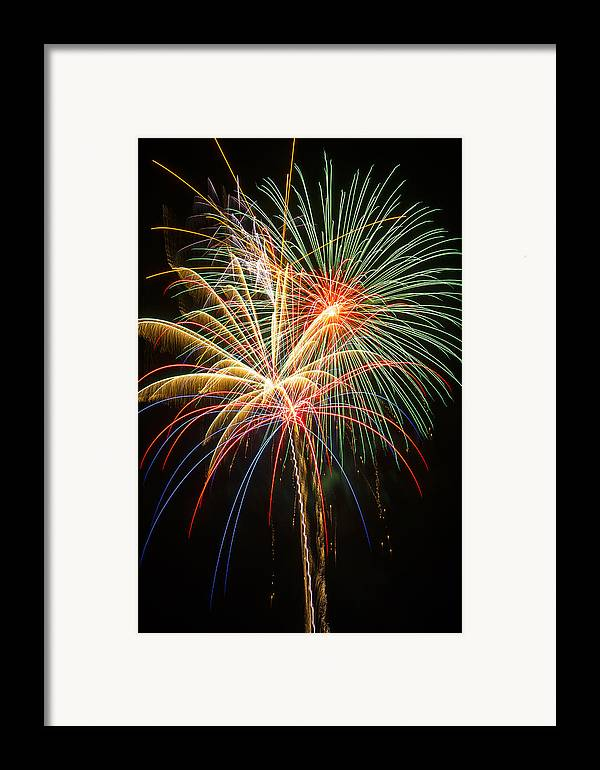 Awesome Fireworks Lights Up The Darkness Framed Print featuring the photograph Bursting In Air by Garry Gay