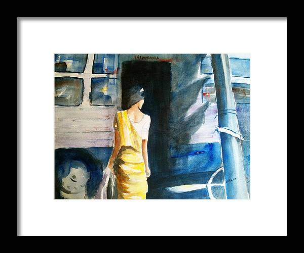 Woman Framed Print featuring the painting Bus Stop - Woman Boarding The Bus by Carlin Blahnik CarlinArtWatercolor