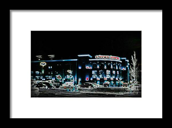 Framed Print featuring the photograph Busch In Neon by Kelly Awad