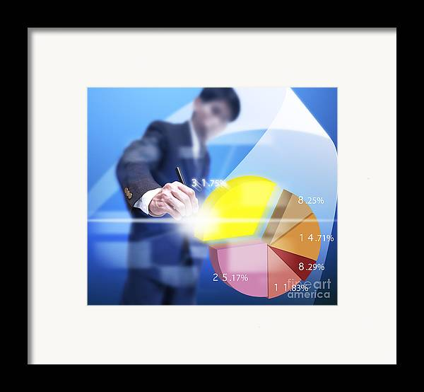 Abstract Framed Print featuring the mixed media Business Abstract by Atiketta Sangasaeng