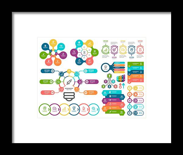 Steps Framed Print featuring the drawing Business diagrams and Infographic Elements. by Artvea
