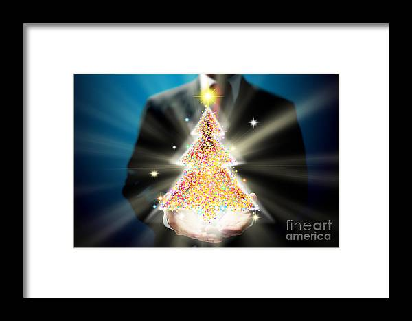Business Framed Print featuring the mixed media Bussinessman With Christmas by Atiketta Sangasaeng