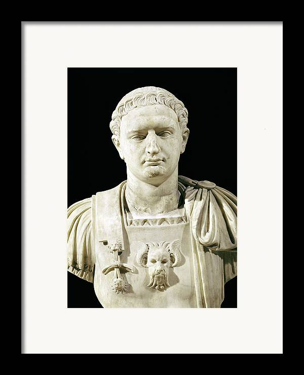 Flavius Framed Print featuring the sculpture Bust Of Emperor Domitian by Anonymous
