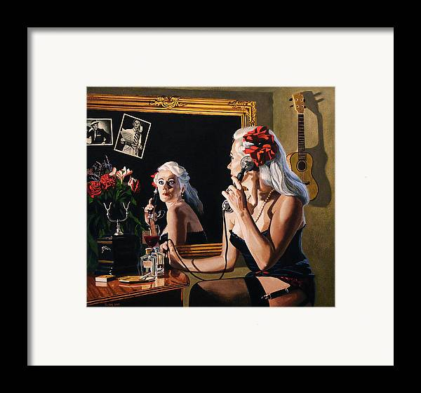 Woman Framed Print featuring the painting Busy Line by Jo King