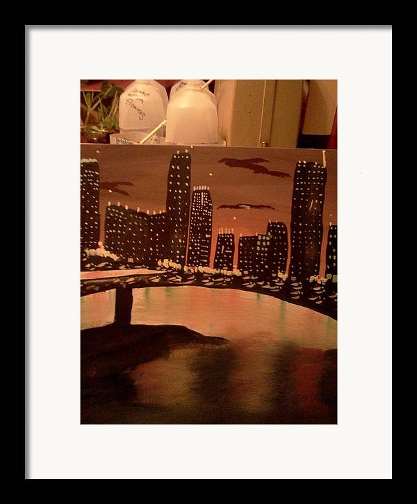 Landscape. Of City At Night And A Bridge. Framed Print featuring the painting Busy Ness by Renee McKnight
