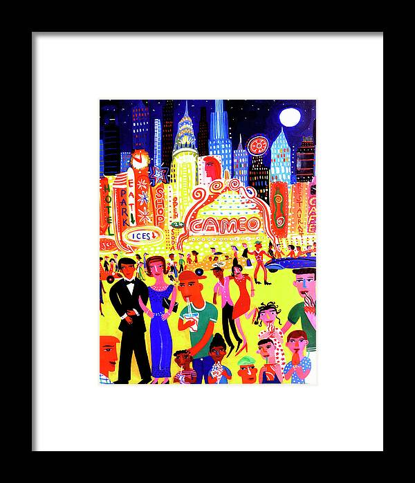 People Framed Print featuring the digital art Busy Nightlife In New York City, United by Christopher Corr