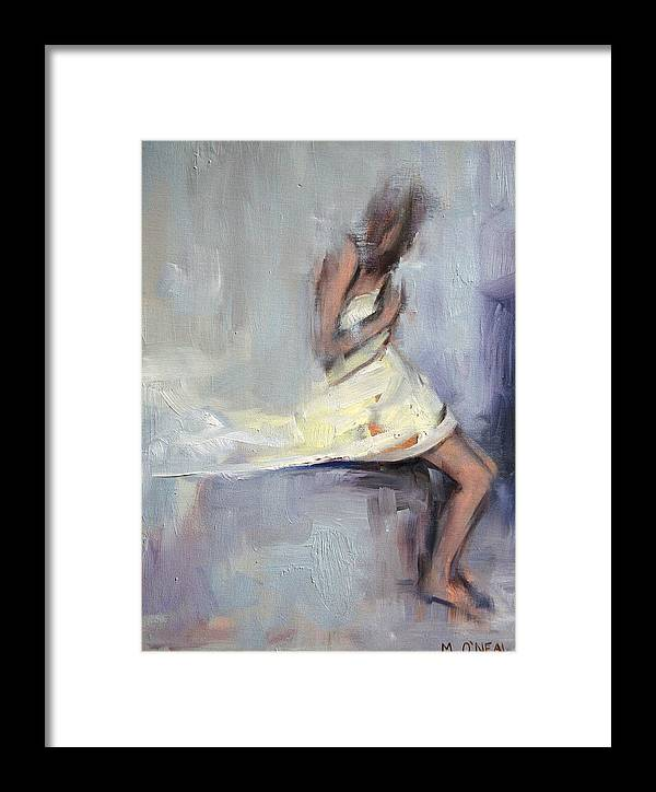 Nude Framed Print featuring the painting but I think there's something in a shade of grey by Meredith Oneal