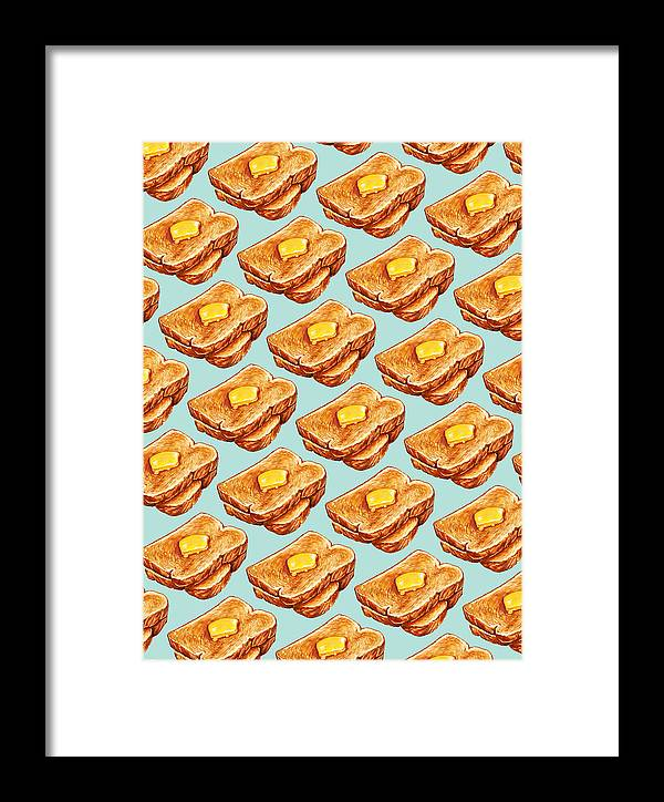 Toast Framed Print featuring the painting Buttered Toast Pattern by Kelly Gilleran