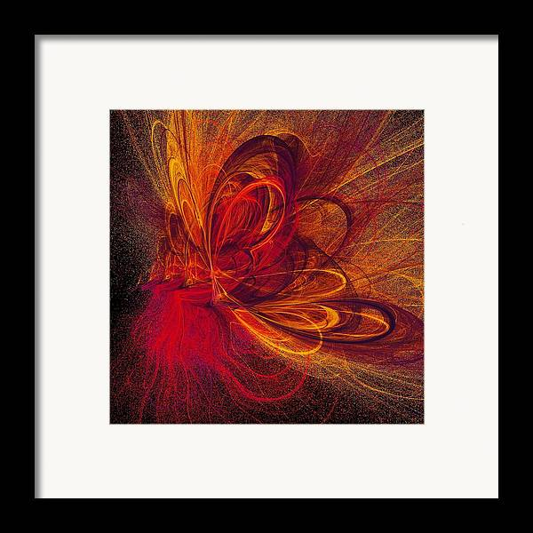 Abstract Butterfly Prints Framed Print featuring the digital art Butterfire by Sharon Lisa Clarke