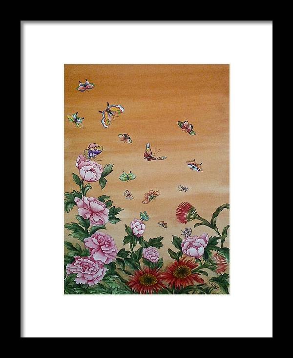 Nature Framed Print featuring the painting Butterflies And Flowers by Nicola Mountney