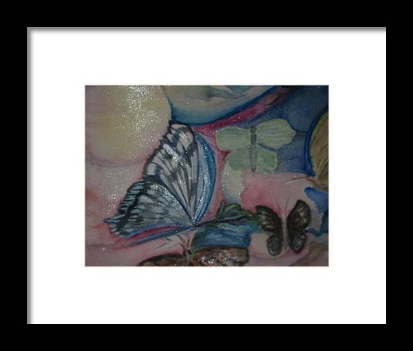 Watercolor Butterflies Framed Print featuring the painting Butterflies And Spheres by Marian Hebert