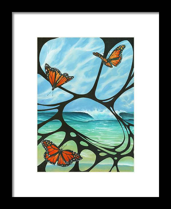 Fine Art Framed Print featuring the painting Butterfly Beach by Harry Holiday