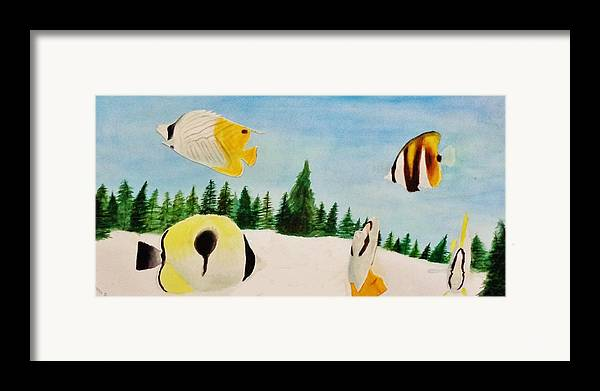 Butterfly Framed Print featuring the painting Butterfly Fish by Savanna Paine