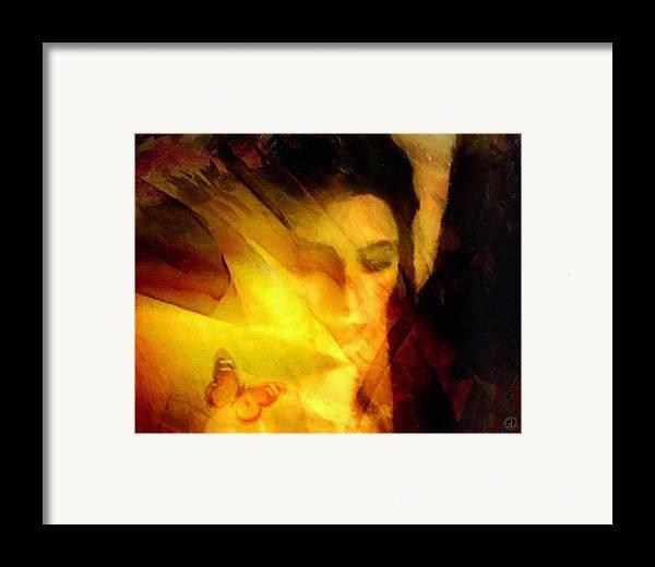 Digital Art Framed Print featuring the digital art Butterfly Moment by Gun Legler