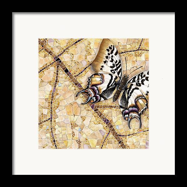 Acrylic Framed Print featuring the painting Butterfly Mosaic 01 Elena Yakubovich by Elena Yakubovich