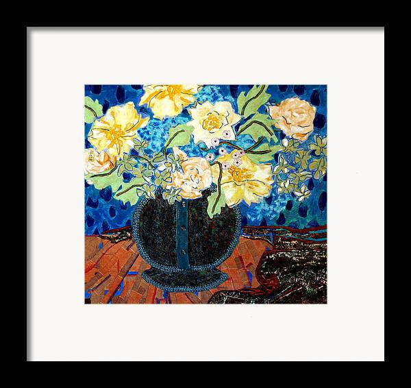 Flowers In A Vase Framed Print featuring the mixed media Button Up Vase by Diane Fine