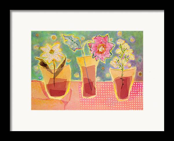 Flowers In A Glass Framed Print featuring the mixed media Buttons by Diane Fine