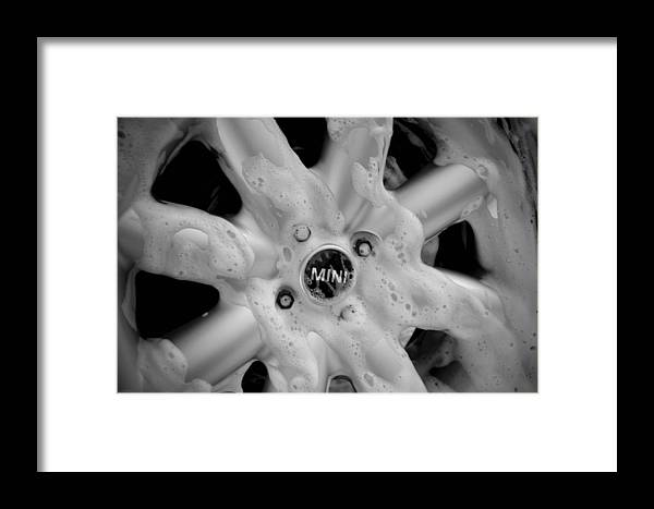 Black & White Framed Print featuring the photograph Bw Mini-cooper Soapy Hubcap by Nicole Berna
