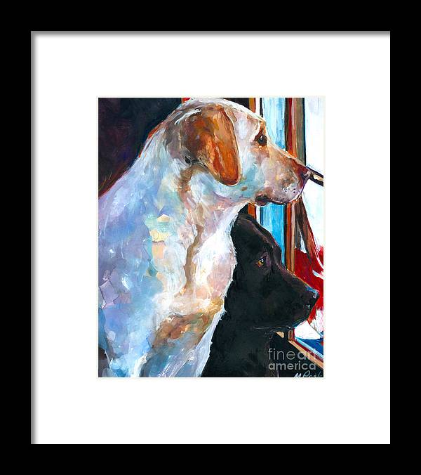 Labrador Retriever Framed Print featuring the painting By My Side by Molly Poole