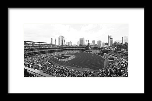 Busch Framed Print featuring the photograph By The Right Field Foul Pole Bw by C H Apperson