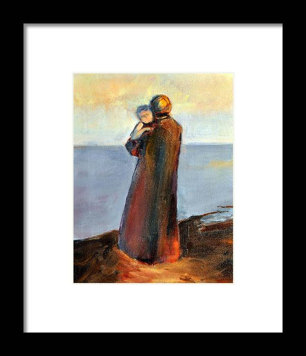 Figurative Framed Print featuring the painting By The Sea by Rosemarie Hakim