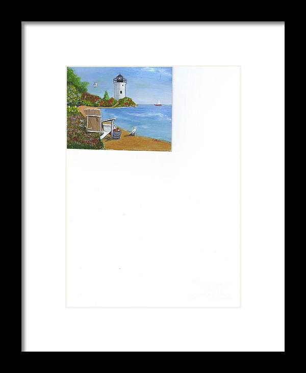 Seascapes. Lighthouses Framed Print featuring the painting By The Shore by Catherine Swerediuk