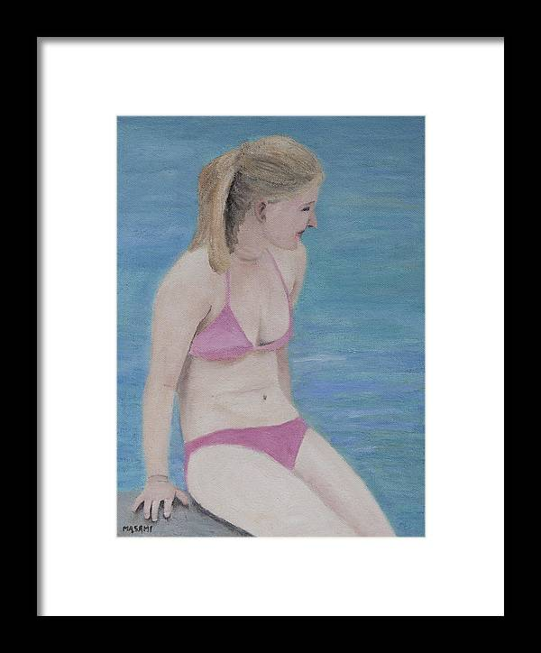 Beach Framed Print featuring the painting By The Water by Masami Iida