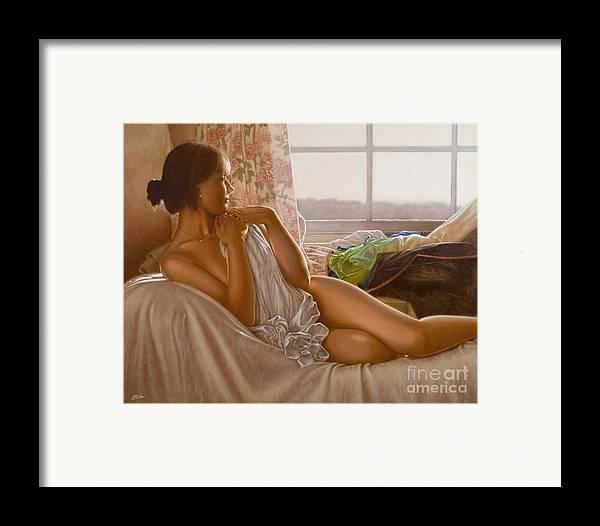 Paintings Framed Print featuring the painting By The Window by John Silver