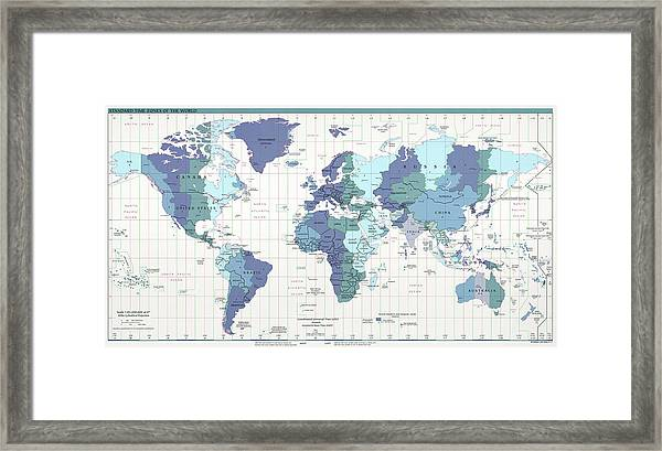 Map Of The World With Compass.C I A World Map With Time Zones Framed Print By Compass Rose Maps