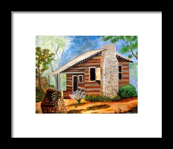 Cabin Framed Print featuring the painting Cabin In The Woods by Janis Tafoya