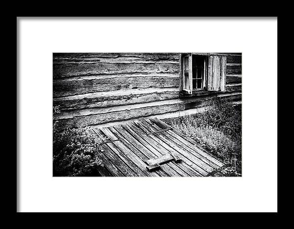 Log Cabin Framed Print featuring the photograph Cabin Shutters by Paul W Faust - Impressions of Light