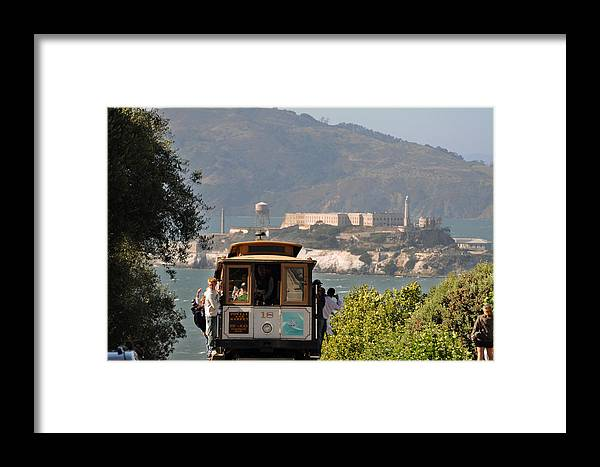 San Francisco Framed Print featuring the photograph Cable Car Going Down A Steep San Francisco Hill by Scott Lenhart