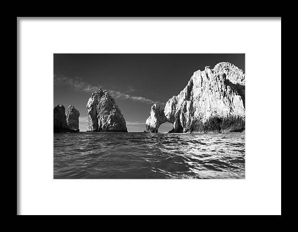 Los Cabos Framed Print featuring the photograph Cabo In Black And White by Sebastian Musial