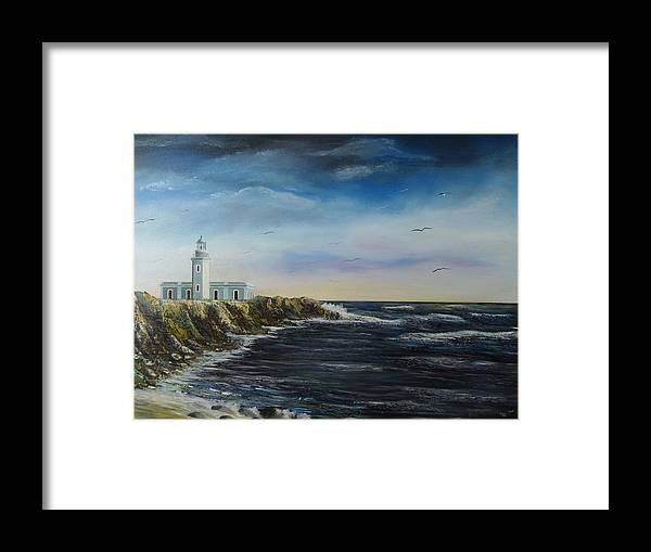 Cabo Rojo Lighthouse Framed Print featuring the painting Cabo Rojo Lighthouse by Tony Rodriguez
