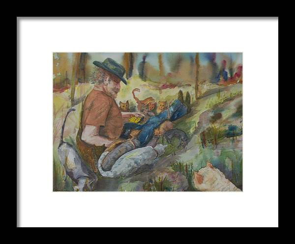 Humanitarian Framed Print featuring the painting Caboodle Ranch Cats by Barbara McGeachen