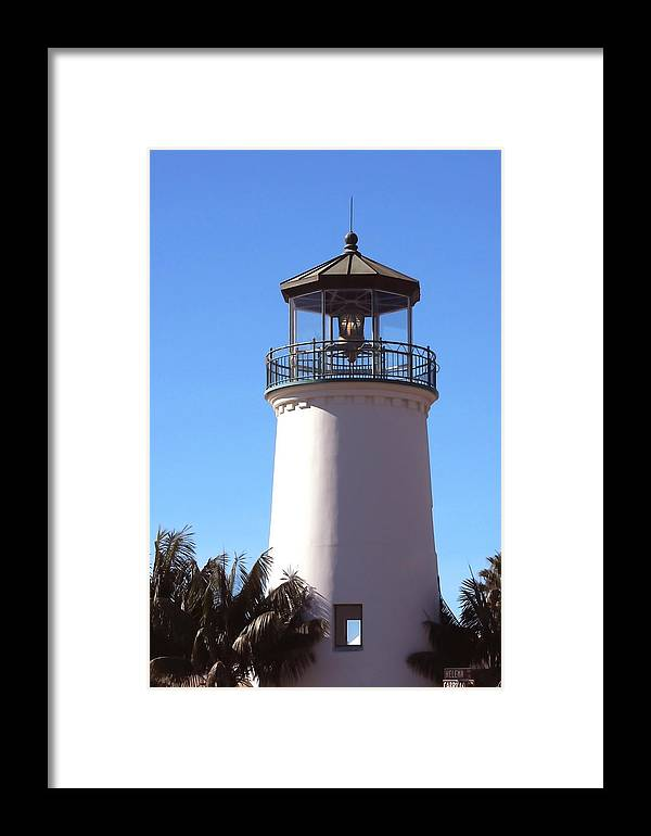 Santa Barbara Framed Print featuring the photograph Cabrillo Street Lighthouse by Art Block Collections