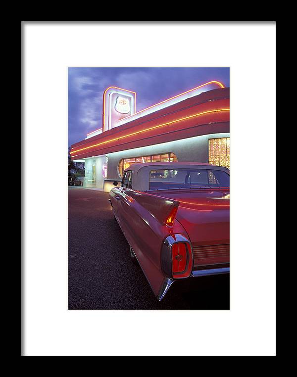 Diner Framed Print featuring the photograph Caddy At Diner by Christian Heeb