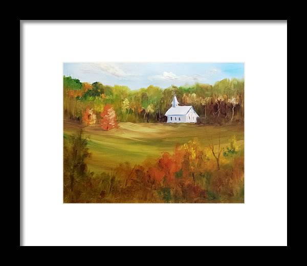 Landscape Framed Print featuring the painting Cades Cove by Larry Hamilton