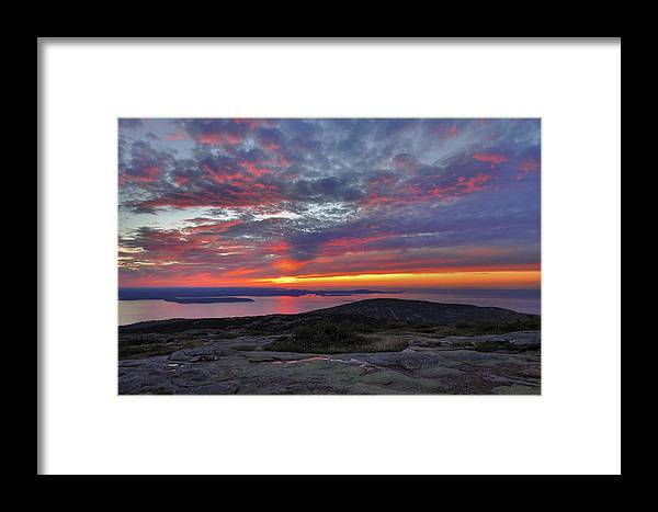 Sunrise Framed Print featuring the photograph Cadillac Mountain Sunrise 2 by Stephen Vecchiotti
