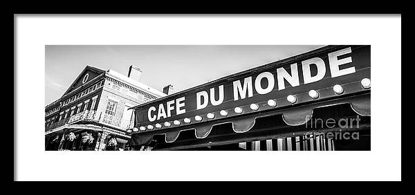 America Framed Print featuring the photograph Cafe Du Monde Panoramic Picture by Paul Velgos
