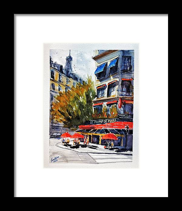Champ Framed Print featuring the painting Cafe Le Champ De Mars by James Nyika