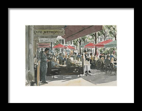 Cafe Framed Print featuring the painting Cafe Metropole by Ian Osborne